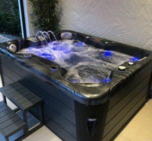 Hot tub with blue led lighting image